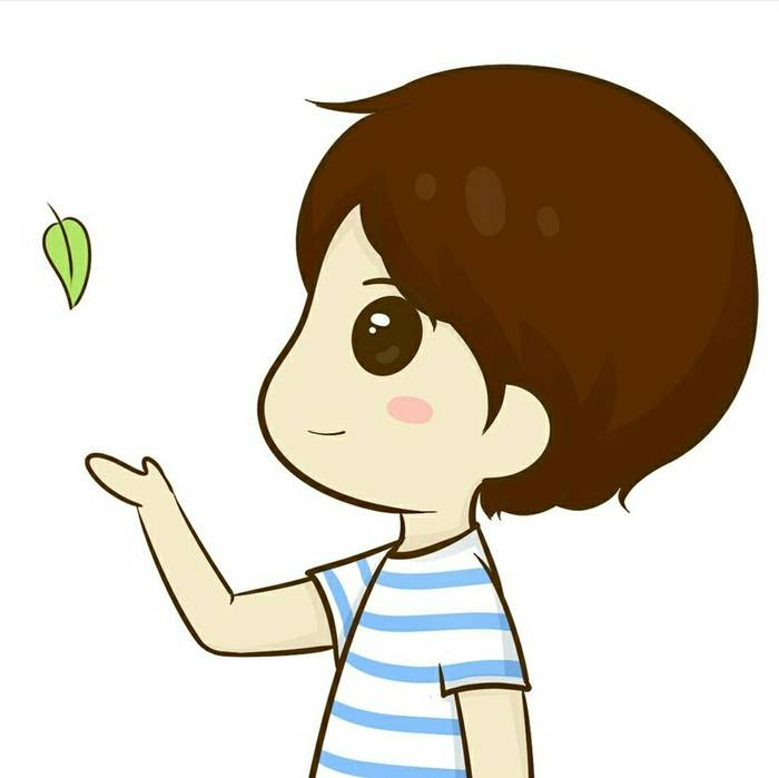 看到一个卡通情侣头像,男孩子右手上方有片树叶,女孩子是左手,跟下面
