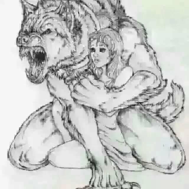 一只狼用一只脚把一个女孩抱在怀里图片