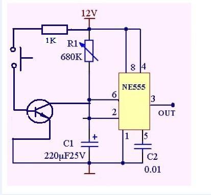 请问我想用9013触发ne555,请问三极管怎样接?