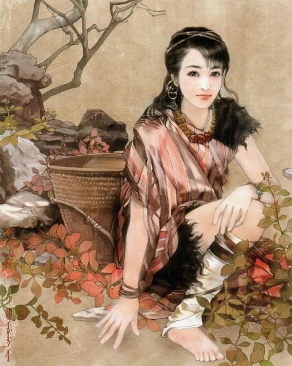 壮族美食和服装手绘图手绘图和