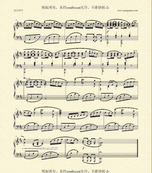 《菊次郎的夏天》久石让原版钢琴谱,打印出来要清楚的
