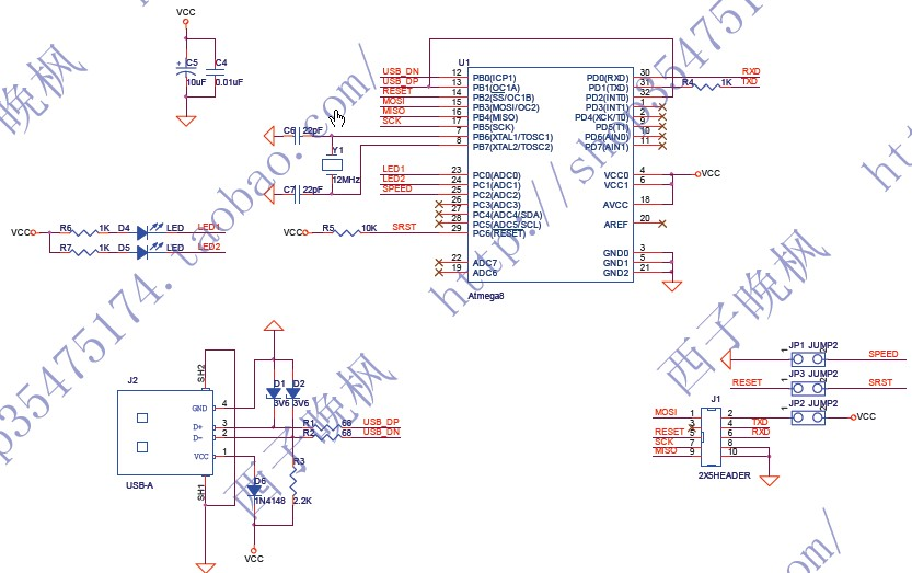 at89s52 isp电路图,要usb的