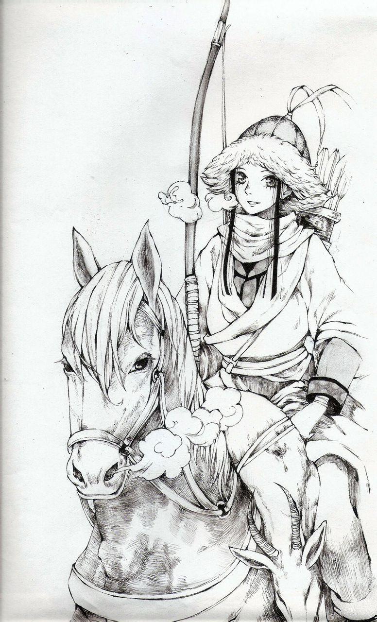 黑白手绘古装人物漫画古风