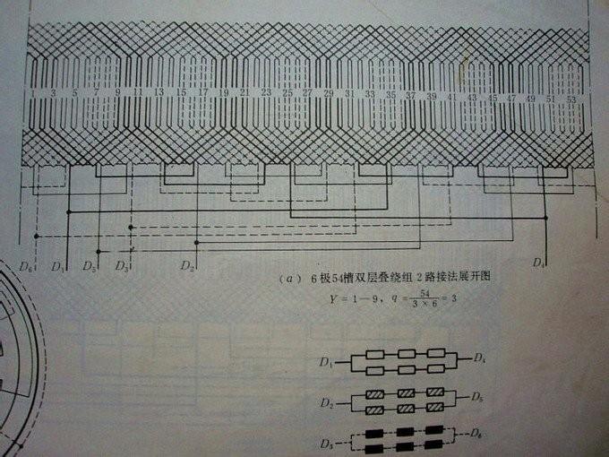求54槽6极双层2路进火电动机接线图_百度知道