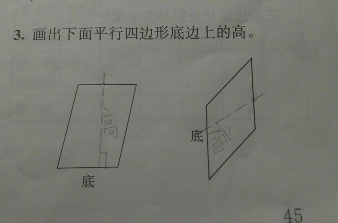 这样画平行四边形的高对吗?图片