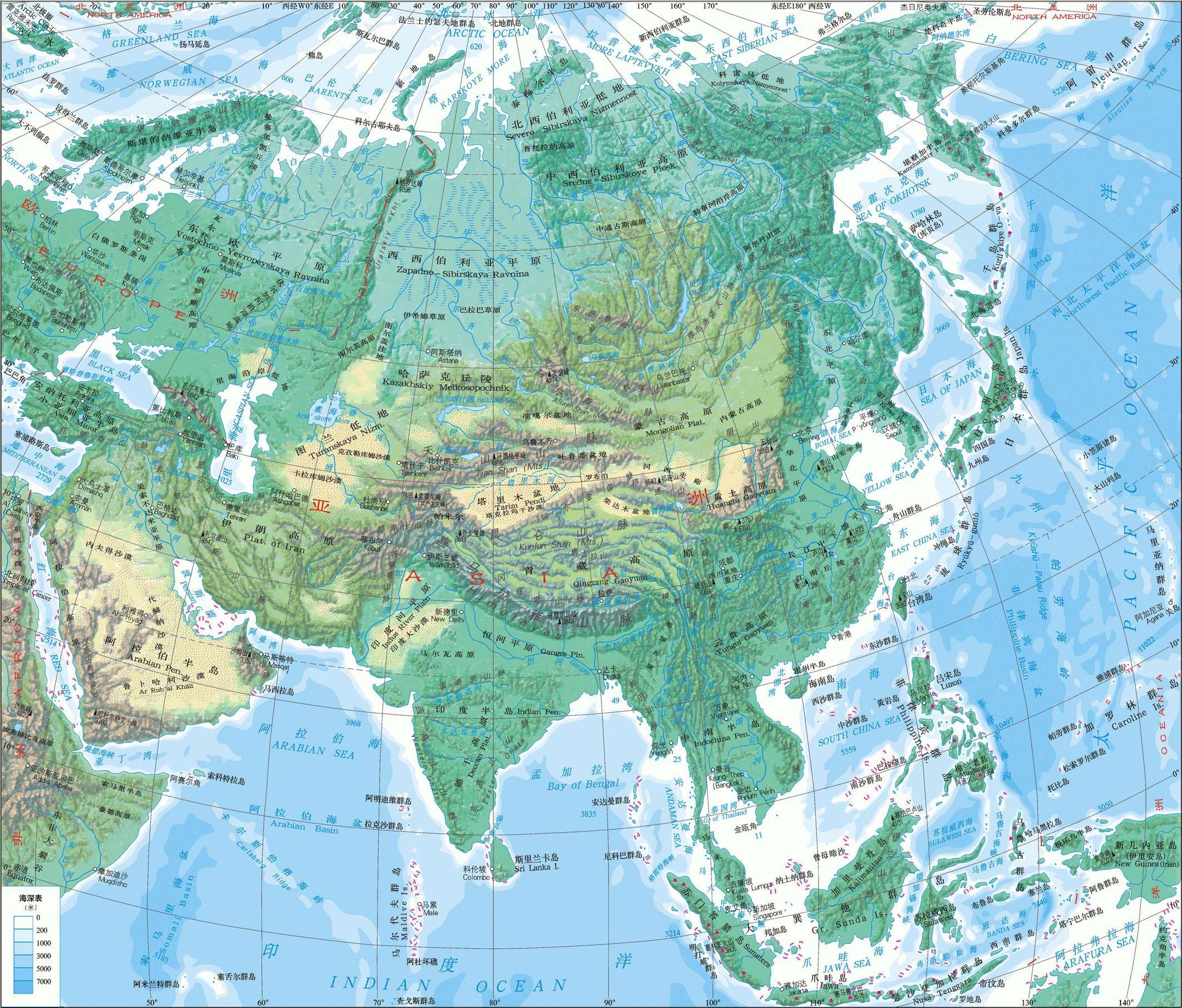 亚洲地形图分布情况是什么