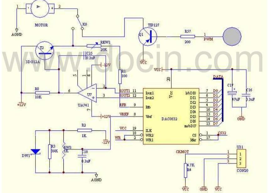 急求单片机驱动直流电机中pwm调速模块的电路图一张.