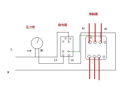 一个中间220v继电器一个380v交流接触器一个自动手动转换按钮一个压