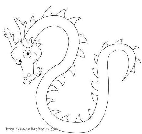 1,用最简单的几笔把中国龙的大体轮廓画出来.