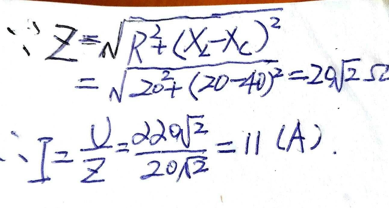 在rlc串联电路中,电压u的有效值为u=220根号2v,xc=40欧,xl=20欧,r=20