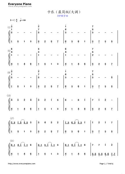卡农c大调最简版钢琴简谱已发至附件,请用电脑登录下载(否既看不到
