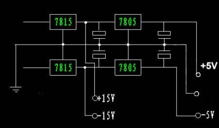 如何用三端稳压集成块制作双电源应用电路图