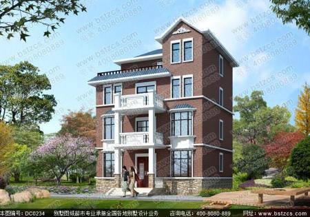 广州农村10o平方三层半别墅设计图坐南向北