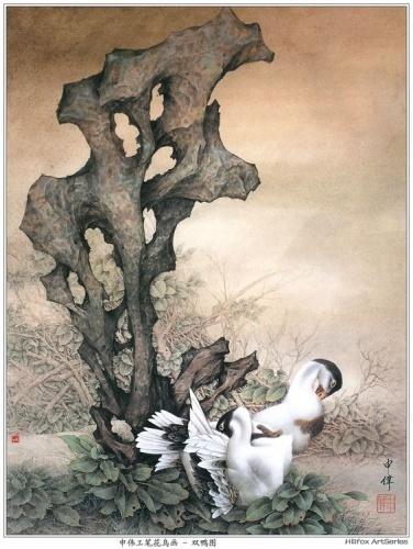 请问有一幅画有鸭子 荷花 芦苇的工笔画叫什么名字图片