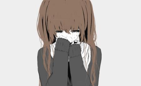 卡通头像女生(手绘)一个女孩长长的头发,再哭,她的一只手在擦眼泪