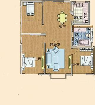农村108平方房子设计 三室两厅 坐北朝南 大客厅