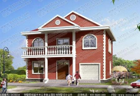 这款小二层别墅结构,别墅是开间的暗红色,农村12米,进深10米,砖混外观上海大气仓九龙图片