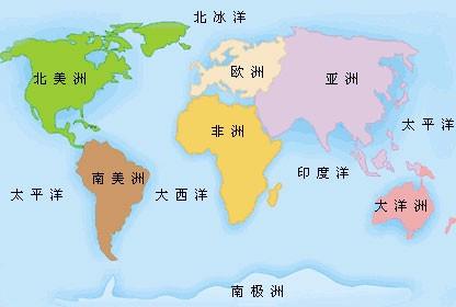 世界地图的简笔画以及七大洲八大洋的标注