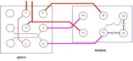 单相电机双电容倒顺开关电路图