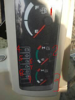 求助各位挖机老师傅,卡特307c上仪表中的小图标代表什么意思啊?如图图片