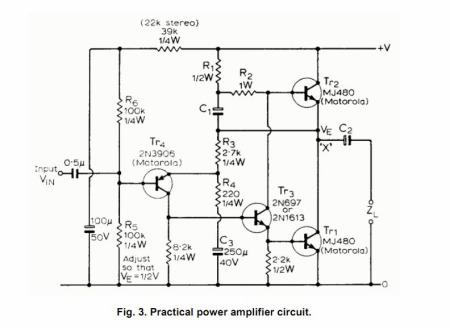 求个简单的1969功放电路图(tip41c)单电源