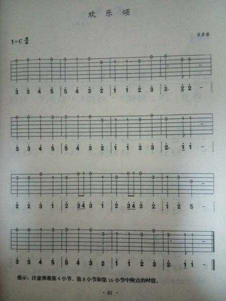 求助《欢乐颂》吉他曲乐谱,谢谢啦