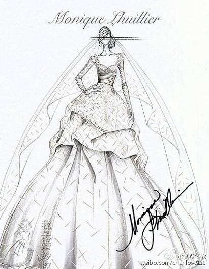 婚纱设计素描图片