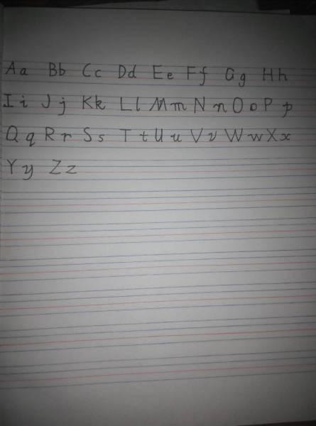 英语作业本书写单词的格式,在英语作业本上写出来,我对比仿照练习图片