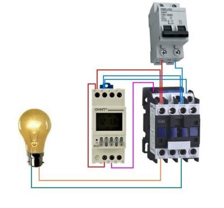 正泰cjx2一25接触器与正泰nkg1时控开关怎么接线