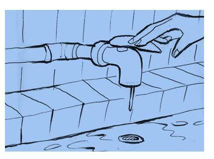 手关水龙头时的简笔画