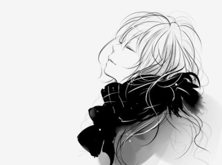 黑白的高清动漫图片,只有黑白的跪谢