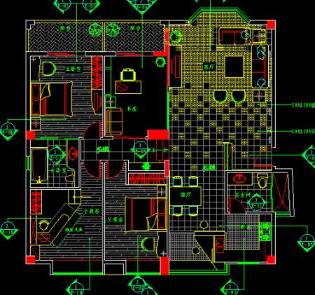 四室的房子设计图已经给你贴上了,是两厅的客厅加上餐厅,可以看着布局