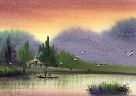 有没有简单易画的水彩画?最好是风景的.