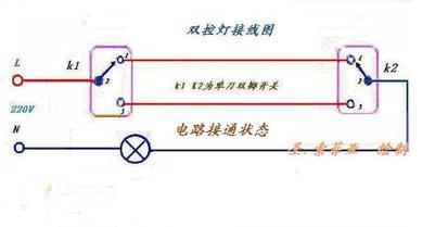 求楼梯灯电路图,不要太复杂,一个灯泡两个开关的那种.