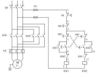三相异步电动机正反转接线图