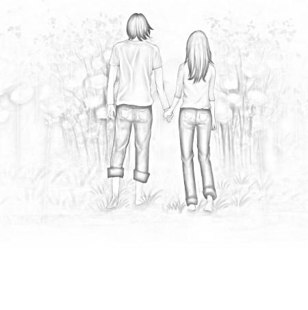 求一张情侣手牵手向前走的素描画,只能看见背影,要简单点的,发图在