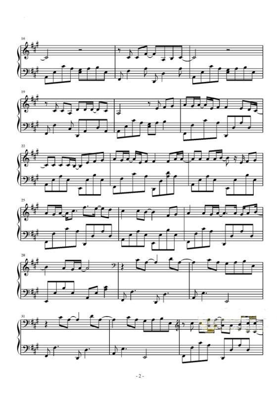 简单易学的幼儿钢琴曲谱-平凡之路钢琴谱展示