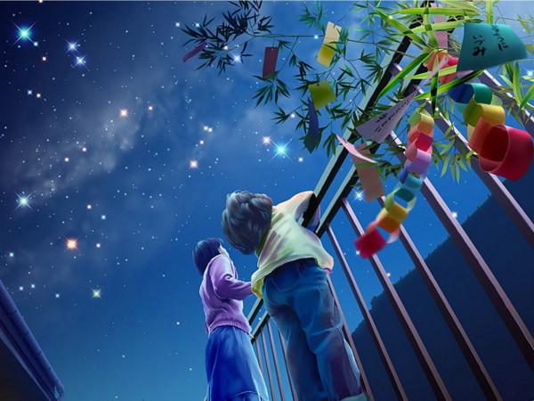 求图,两个小孩仰望天空的背影卡通图,急急急