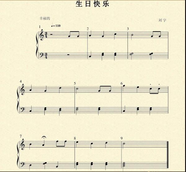 生日快乐钢琴曲谱   宽600*554高   根,英语音乐,出生日期,钢琴曲,