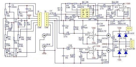2030a btl 4558 电路图 不是低音放大 是全频,单纯放大.