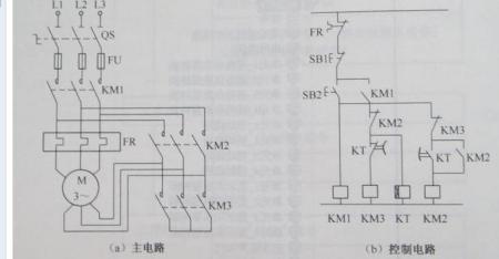 求星三角启动电路图,(三个接触器,一个时间继电器,一个中间继电器和两