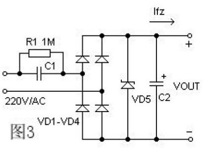 以下是电容降压的电路:   电容降压主要是用在直流稳压电源电路里.