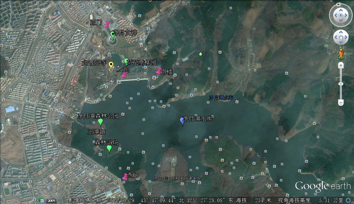 净月潭国家森林公园卫星地图图片