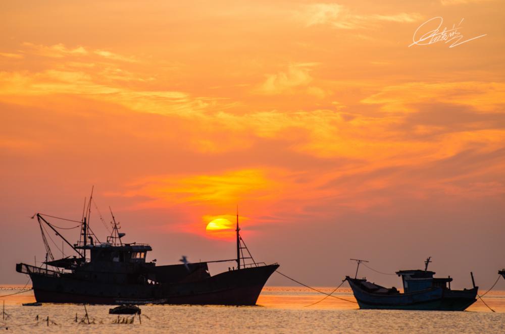 惠安海边日出图片