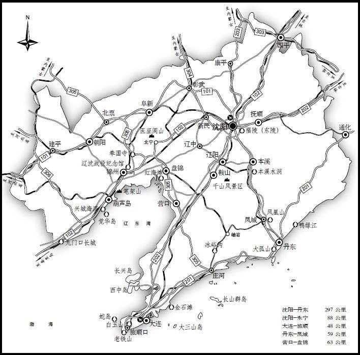 沈阳地图黑白手绘