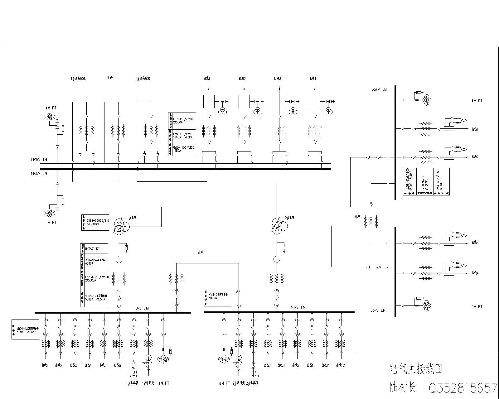 110kv变电所电气主接线图