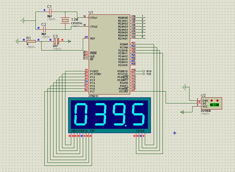 急求基于proteus ds18b20的电路设计图以及hex的源程序代码