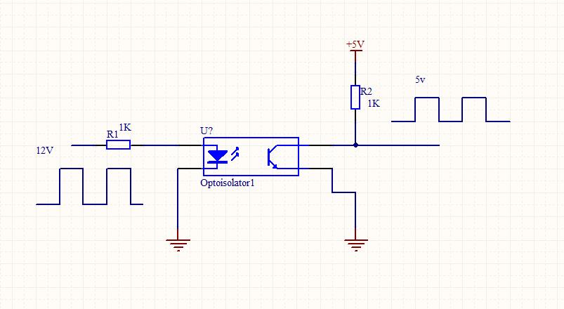 把12v 的方波 转换为5v 的电路图 给单片机 计数