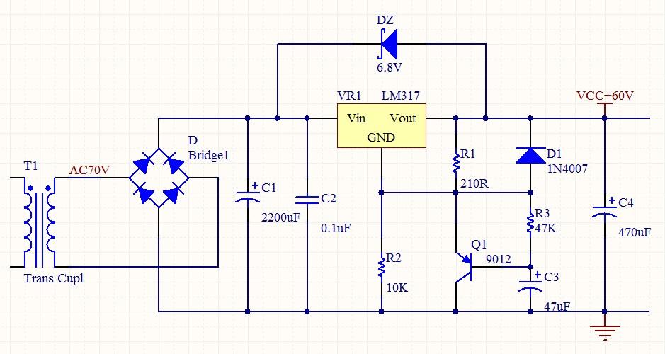请各位帮我分析分析这个电路(lm317高压稳压软启动)