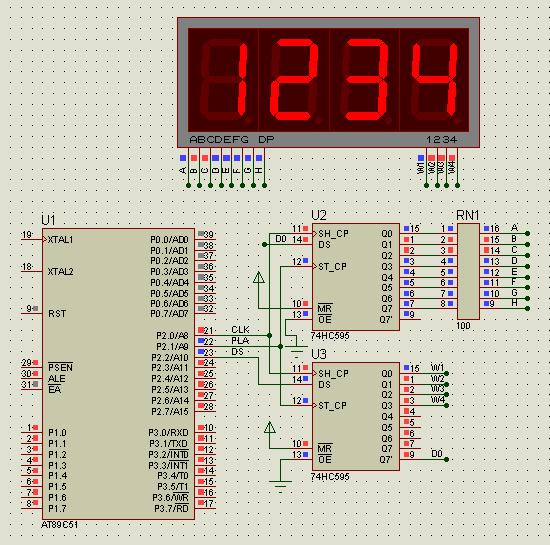 2片74hc595驱动4位数码管,怎么不成功
